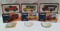 3x Corgi 1:43 Land Rover Fire Support Vehicles 07106, 07410, 07417 MIB Ltd Ed