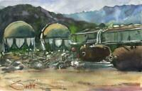 Old Refinery Ventura :  Signed LE Art Print:  Sandra Watercolors™ California