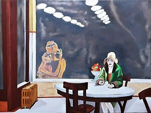 """EDWARD HOPPER HAND PAINTED OIL PAINTING ON CANVAS """"AUTOMAT"""" 24"""" x 18"""""""