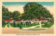 Postcard Mississippi MS Gulfport Moody's Court on the Beach Motel Linen 1953