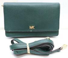 NWT Michael Kors Mott Dark Atlantic Pebbled Leather Phone Wallet Crossbody Green