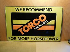 """Large Vintage NOS TORCO RACING OIL Motorcycle Dealer sign  36"""" wide X 23"""" tall 1"""
