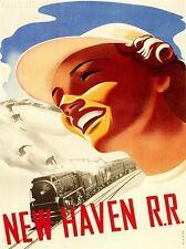 ART PRINT viaggi turismo sport invernali Treno Ferrovia Motore New Haven USA nofl1382
