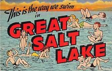 Large Letter postcard This is the way we swim in Great Salt Lake Utah
