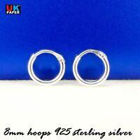 Girls 925 Sterling Silver 8mm -16mm Small Tiny Hinged Hoop Sleeper Earrings Pair
