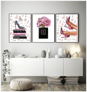 Set of 3 Fashion Art prints pink perfume bottle logo flowers blush  silver A4 A3