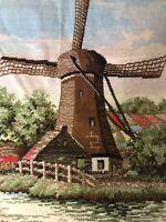 Vintage Holland Tapestry Souvenir Windmill Dutch E1
