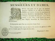 RARE AFFICHE PLACARD MORTUAIRE MACABRE MORT DECES ORLEANS ADAM BOUROTTE 1814