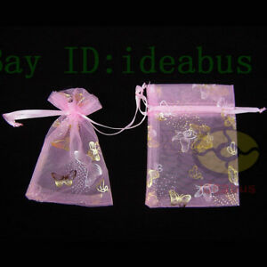 """25/50/100pcs Print Pattern Organza Pouches Jewelry Wedding Favor Bags 4.75""""x3.5"""""""