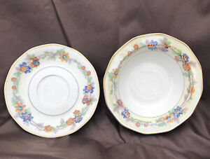 Theodore Haviland Limoges France MIAMI Pattern China Cereal Soup Bowl & Saucer