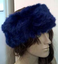 royal blue real genuine rabbit fur pelt ear warmer headband unisex hat