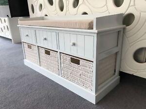 New Elegent White Cream Storage Unit Bench Hallway Window Seat Drawers Bedroom