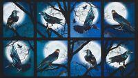 "23"" Fabric Panel - Robert Kaufman Digital Raven's Moon Halloween Block Blue"