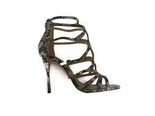 BNIB Schutz Womens Snake Print Beige Brown Sandal Cage Heels Shoes Size 8