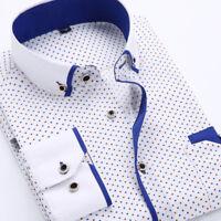 Fashion Mens Print Casual Cotton Long Sleeve Shirt White Smart Dress Shirts