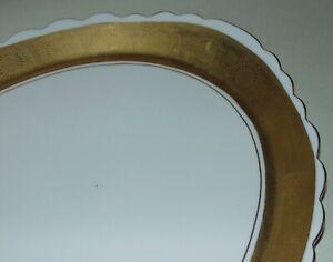 ANTIQUE White Porcelain GOLD SUNBURST Platter