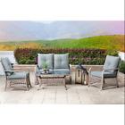 Glitzhome 4pcs Outdoor Patio Furniture Garden Rattan Cushioned Sofa Coffee Table