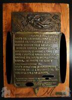 Placca in Bronzo Discorso Proclamazione Impero 1936 - Coop. Fonditori Mutilati