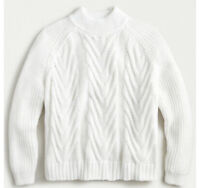 J Crew Women's Cable Knit Mock Neck Pullover Long Sleeve Sweater White XS NWT!!