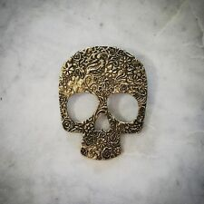 - Steampunk - Gothic Large Vintage Gold Skull Pendant