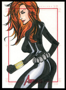 Marvel Black Widow 2011 The Avengers SketchaFEX Sketch Card 1/1 Nice!