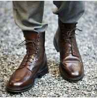 Mens Handmade Boots Brogue Wingtip Ankle Brown Leather Formal Dress Casual Shoes