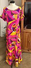 Vtg Hawaiian Dress~60s~PARADISE HAWAII~Honolulu~Maxi~Fitted w/Flare Bottom~Med?
