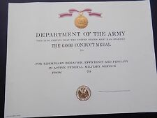 US ARMY GOOD CONDUCT MEDAL CERTIFICATE - UNNAMED EMBOSSED