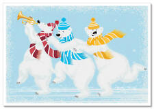 3 POLAR BEARS white play on the pipe and Dance Funny Comic New Russian Postcard