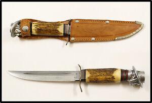 Vintage GERMAN hunting knife stag handle leather sheath G.C. Co NICE GERMANY