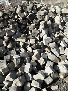 50 Steine (ca. 1 m²) Naturstein Pflaster Basalt Kopfsteinpflaster alt, gebraucht