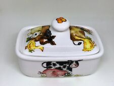 BN Bone China Farm Themed Butter Dish and Lid, Cow, Horse, Sheep Butter Dish