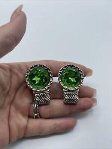 Vintage Swank Green Rhinestone and Silver Tone Wrap Around Cufflinks #C89