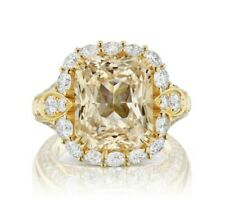 AGL CERTIFIED YELLOW 11.98 CT SAPPHIRE RING 3.74 ct VVS Diamonds 18K Yellow Gold