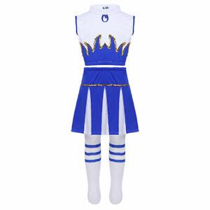 Kids Girl Cheerleader Costume Cheerleading Outfits School Uniform Fancy Dress Up