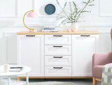 Wide Sideboard Cabinet Drawers Oak White Scandinavian Retro Unit soft close Haga