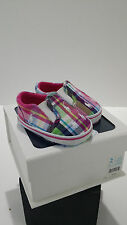 RALPH LAUREN Layette Size 2 Pink Multi Plaid Logo Baby Girl Crib Shoes New n Box