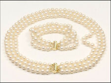 """3 ROW 18"""" AAA 9MM GENUINE  WHITE PEARL NECKLACE BRACELET 14K GOLD CLASP"""