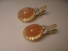 Fabulous Estate 14K Yellow Gold Orange Chalcedony Diamond Citrine Earrings