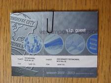 Billete De 14/05/2003: Birmingham City v Jamaica [Ian Bennett testimonios] Vip invitado