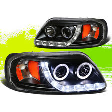 BLACK DUAL HALO PROJECTOR+LED HEADLIGHT AMBER SIGNAL FOR 97-03 F150/EXPEDITION