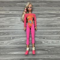 Vintage Barbie Doll Workout Outfit with Shoes Pink Yoga Blonde Hair