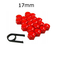 17mm RED ALLOY CAR WHEEL NUT BOLT COVERS CAPS UNIVERSAL FOR ANY CAR