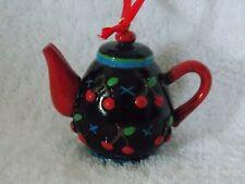 Mary Engelbreit Black Cherry Orchard Mini Teapot Christmas Ornament