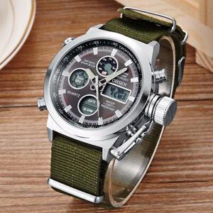 OHSEN Men Quartz Digital Watch Fashion Male Wristwatch Nylon Strap Sport Watches