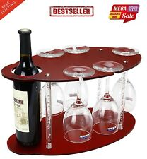 Modern Wooden Acrylic Wine Bottle Glass Holder Wall Shelf Rack Organizer Claret