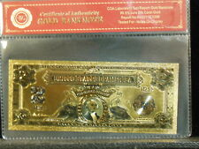 UNITED STATES OF AMERICA TWO SILVER DOLLARS 2 DOLLAR 24KT GOLD FOIL BANKNOTE