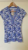 Mantaray Floral Cotton Button Detail Tshirt Top Size 8
