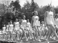 WWII Photo of German Girls Athletic Club Marching  World War Two WW2 / 2110