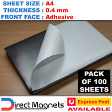 Bulk 100 x A4 Magnetic Magnet Sheets Adhesive Front Sticky Wedding Office 0.4mm